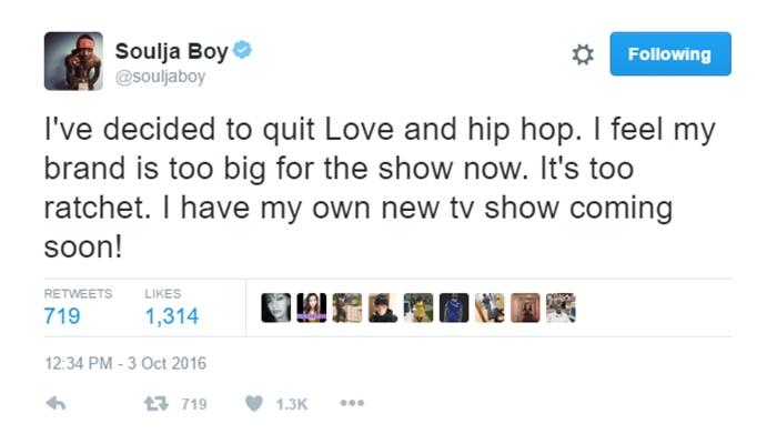Soulja Boy Calls LHHH Ratchet + Quits